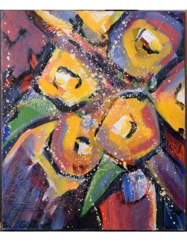 Bouquet jaune et violet (46,5 x 55,5 cm)