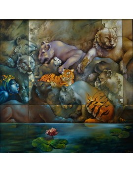 """Peinture à l'huile ------- 110 x 110 cm. """"Safari Urbain"""""""