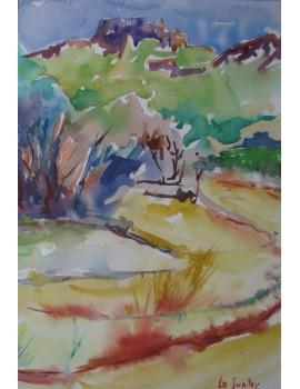 """Aquarelle ---------------- 18,5 x 26,7 cm. """"Au Pied du Château de Montferrand"""""""