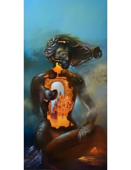 """Peinture à l'huile --------- 50 x 100 cm. """"La Cité intérieure"""""""