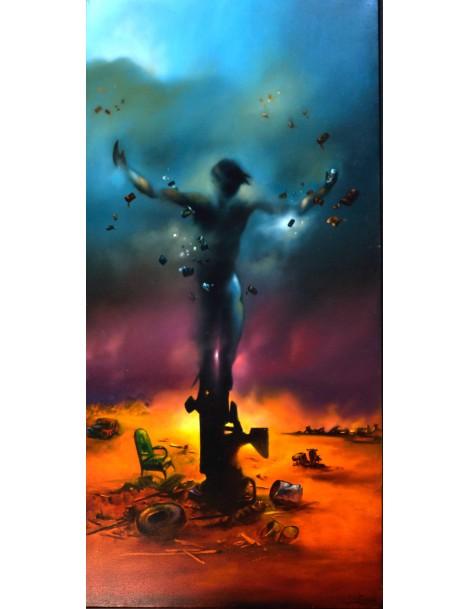 """Peinture à l'huile ---- 80 x 160 cm. """"Le Jongleur"""""""