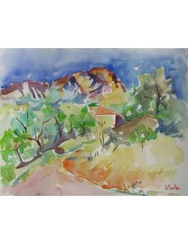 """Aquarelle --------------- 29 x 18,9 cm. """"Au Pied du Pic Saint Loup"""""""