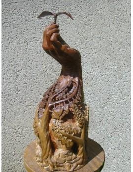 Sculpture sur bois ---- 35 x 70 x 30 cm. 'Malahim.'