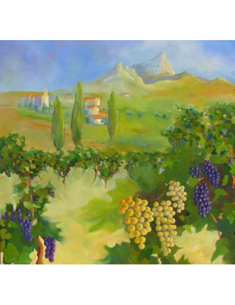 Vignoble du Pic Saint Loup (100 x 100 cm)