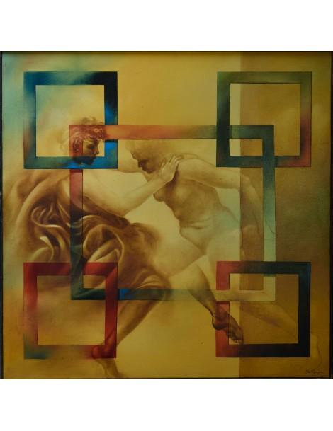 """Peinture à l'huile ----- 80 x 80 cm. """"Fusion"""""""