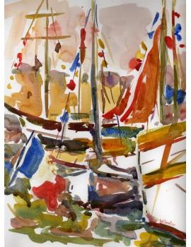 """Aquarelle ---------- 20 x 29,9 cm. """"Vieux Gréements"""""""