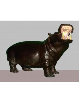 Terre cuite patinée ---- 52 x 32 x 21 cm. 'Hippopotame.'